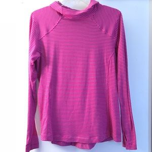 Women's Columbia Medium pink striped hoodie CUTE!